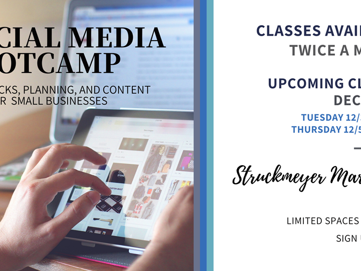 Social Media Bootcamp- Tips, Tricks, Planning and Content Ideas for Small Businesses